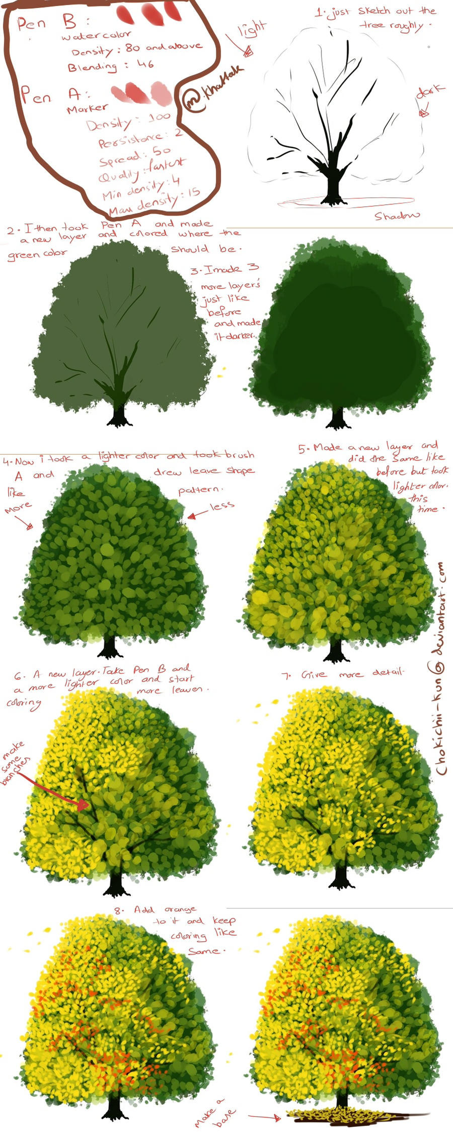 how to paint a tree digtally