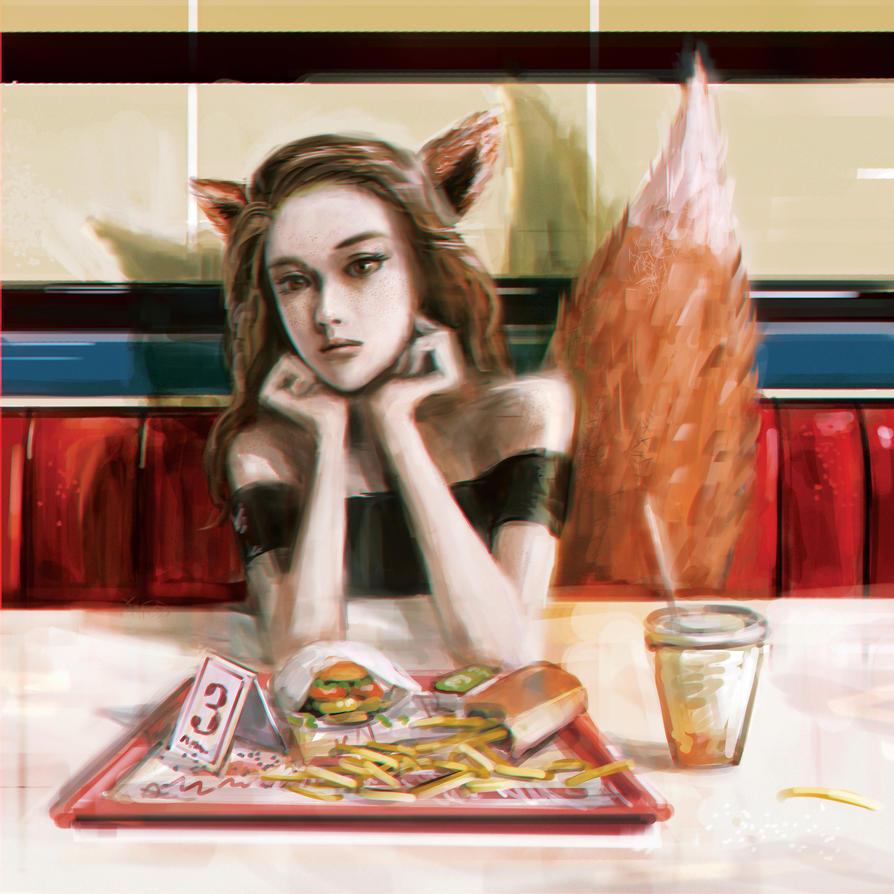 Fast Food Fox by yakkingyetis
