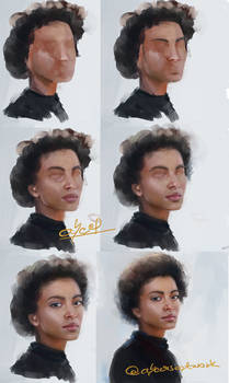 STEPS of painting girl with afro hair