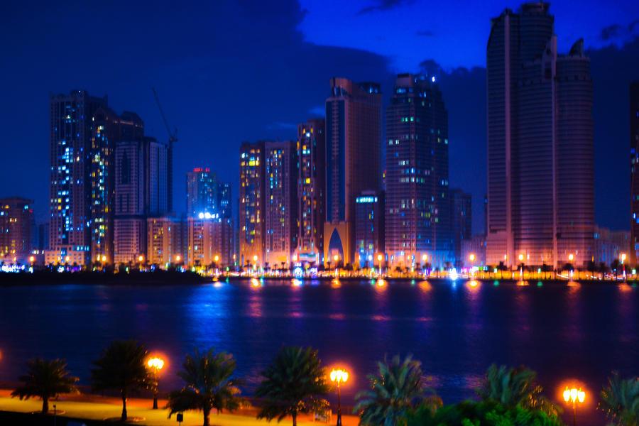 Sharjah night lights by MaithaNeyadi