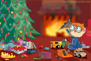 Little Engineer Christmas Card by DrewGreen