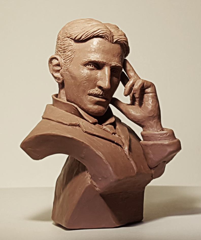 Nikola Tesla bust sculpture WIP2 Niesner by Skull-Droid