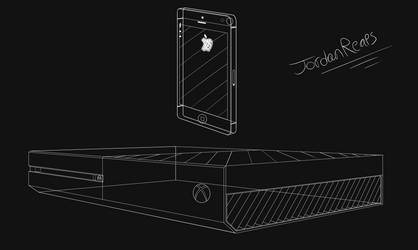 Wireframe Drawings (IPhone 5 and Xbox One) by JordanReaps