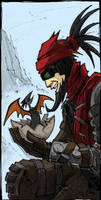 Mordecai and his lil birdy by Mist-Fang