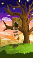 old tree house pixel landscape wallpaper