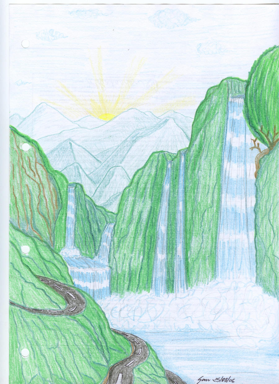 Mountains rivers waterfalls by mazingerzetto on deviantart for What is landscape drawing