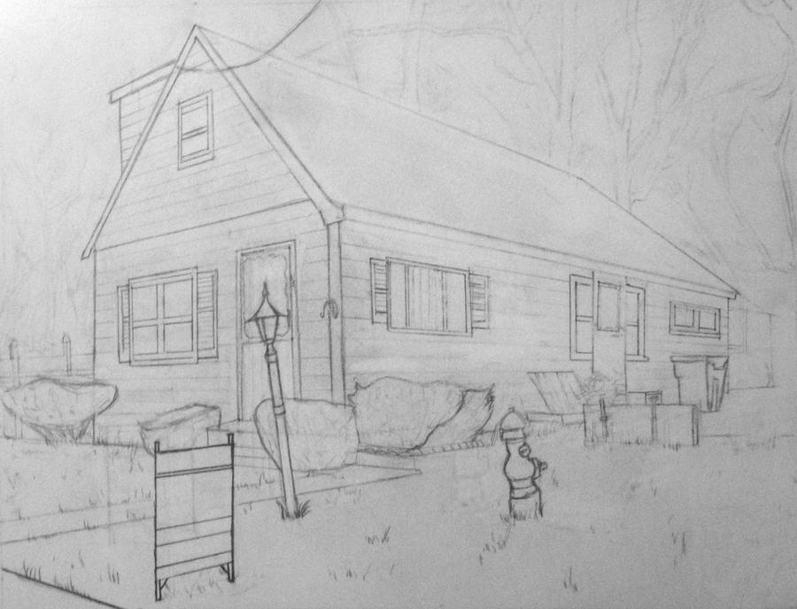 2 point exterior drawing by jess morales on deviantart for Exterior 2 point perspective