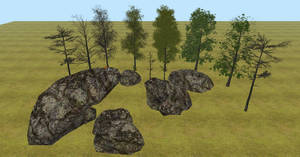 Tree and Rock meshes