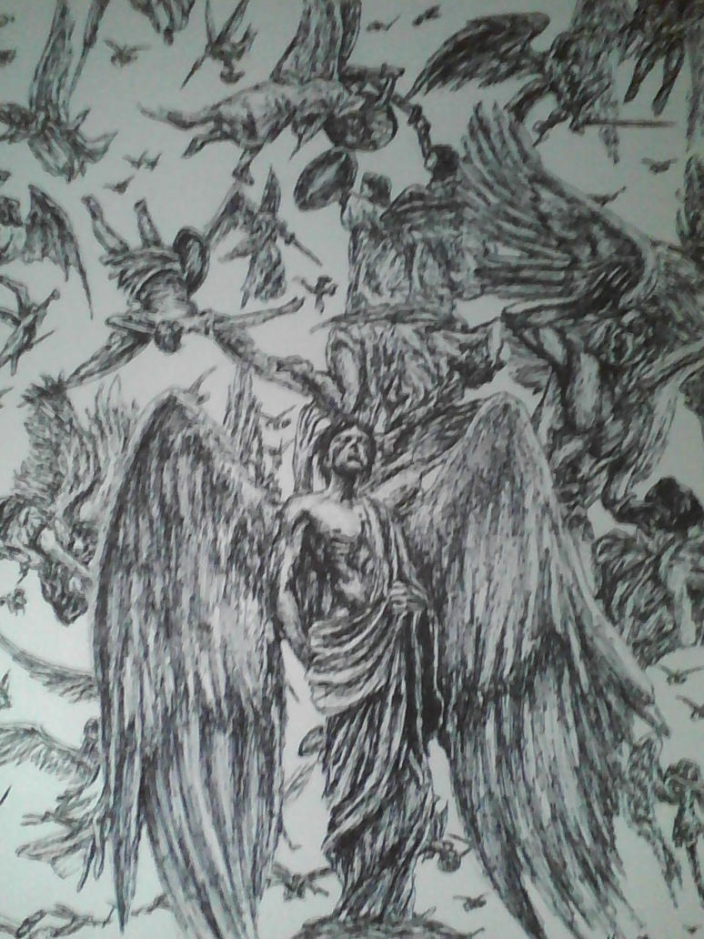 The war in heaven by artkid01 on deviantart for Battle between heaven and hell tattoo