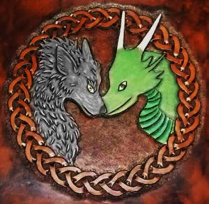 CelticKnot with Dragon and Wolf