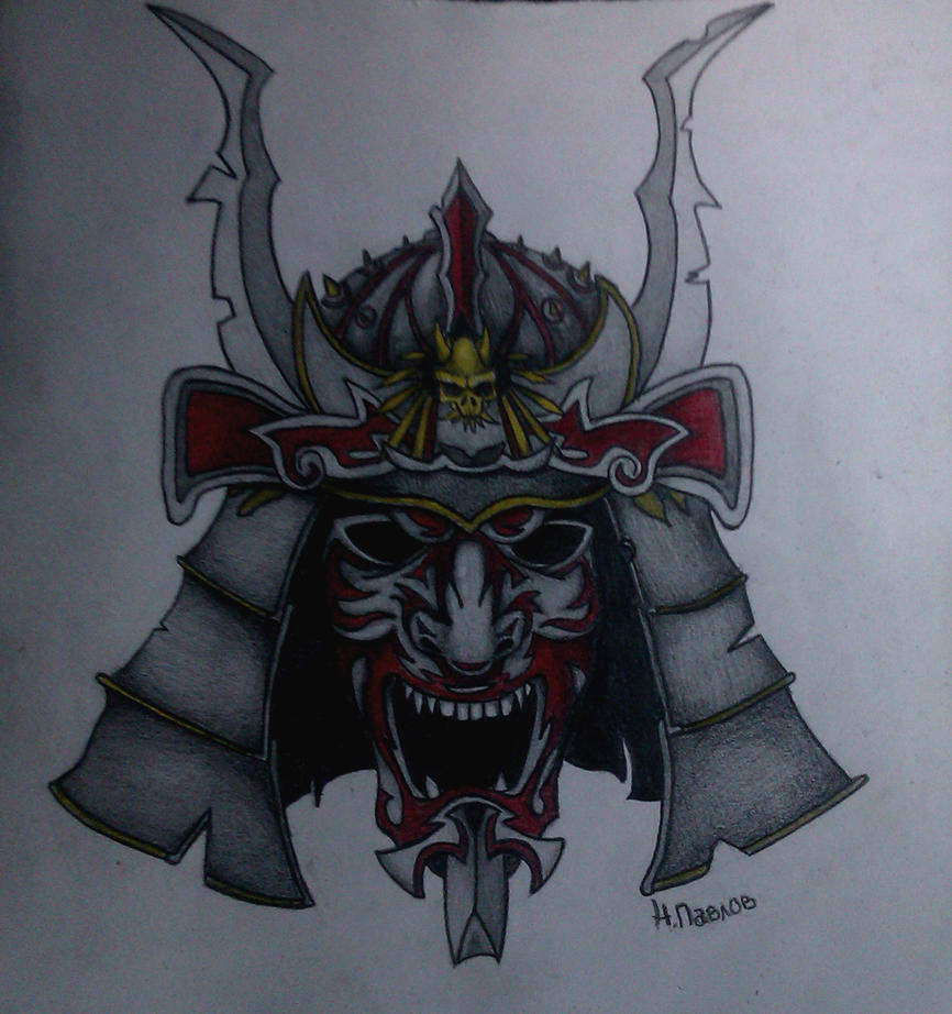 Samurai Mask Drawing by BlazeNikolai on DeviantArt