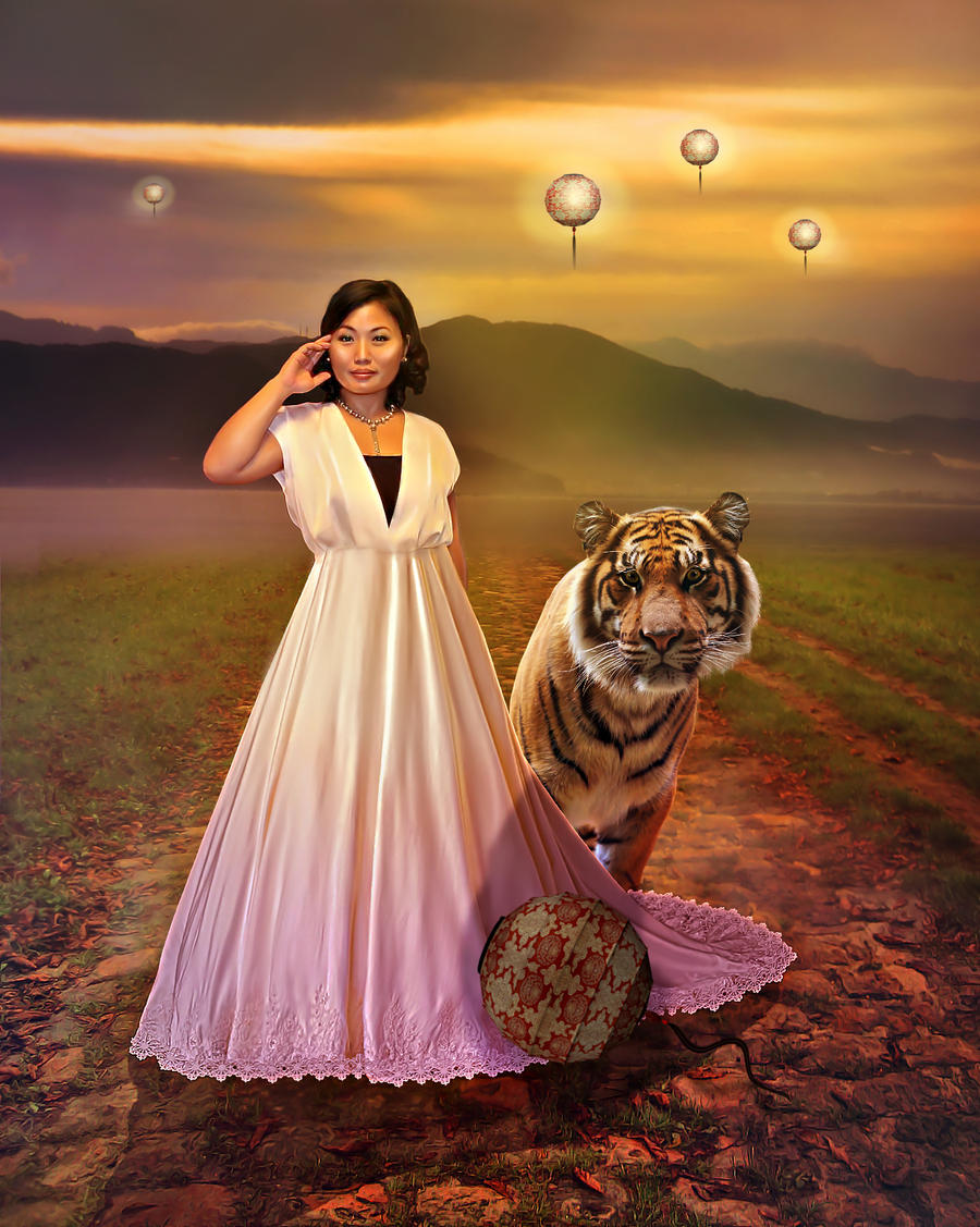 Tigers and Lanterns at Sunset