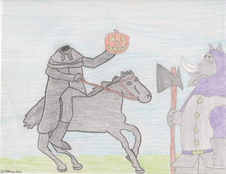 Headless Horseman with Rhino by DisneyPrincessNeeNee