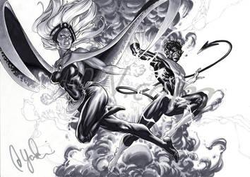 Storm and Nightcrawler by davidyardin