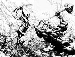 Wolverine vs Rhino by davidyardin