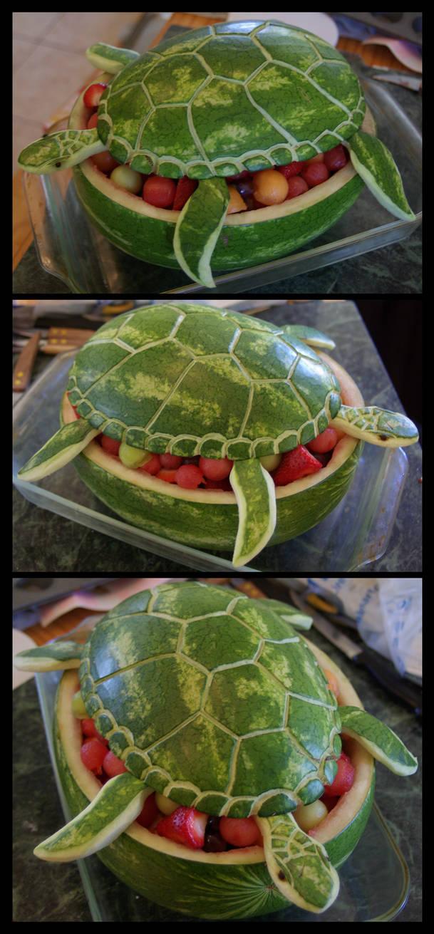 Watermelon Sea Turtle by Ti-7-4Raven