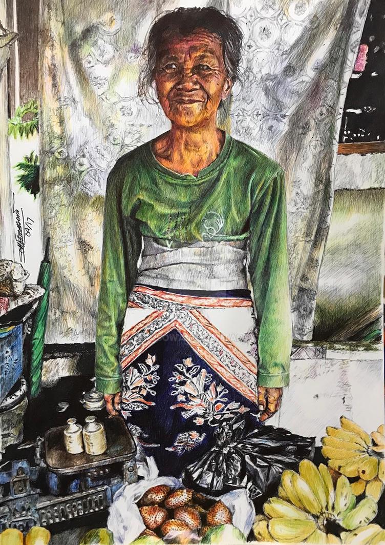 Old lady fruit vendor by dtomasowa