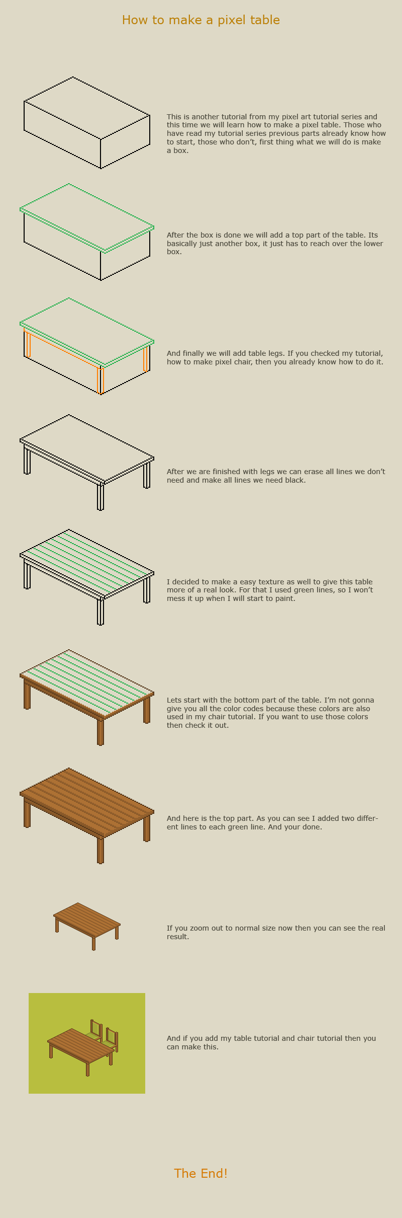 How to make a pixel table