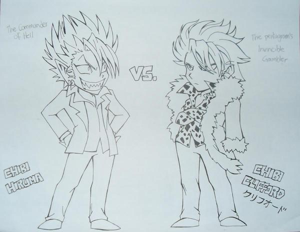 chibis hiruma vs clifford by jokersita on deviantart