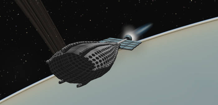 Scoopship extracting resources from the atmosphere