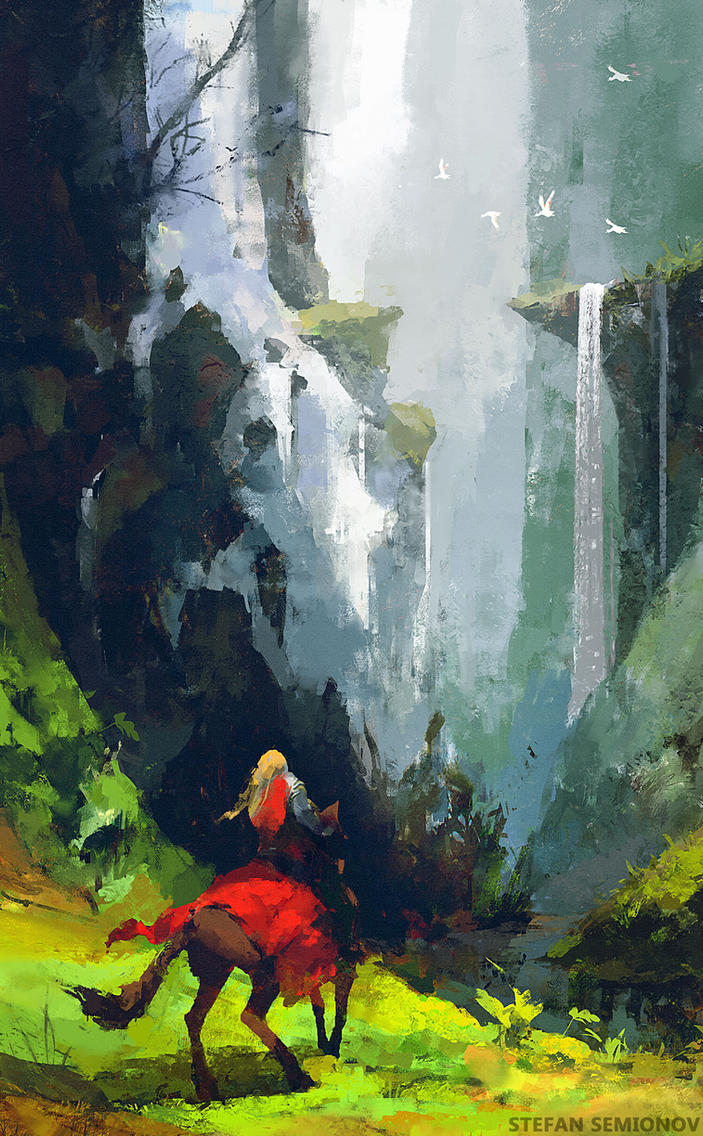 Knight and waterfall by ninePixels