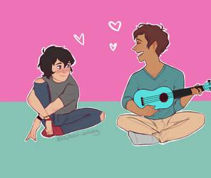 Lance playing ukulele or smthn