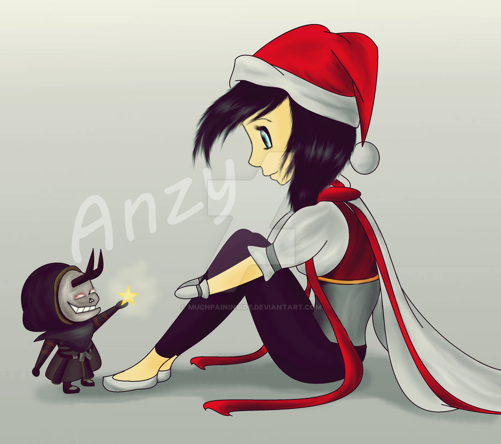 My character chilling with her pet by MuchPainInside