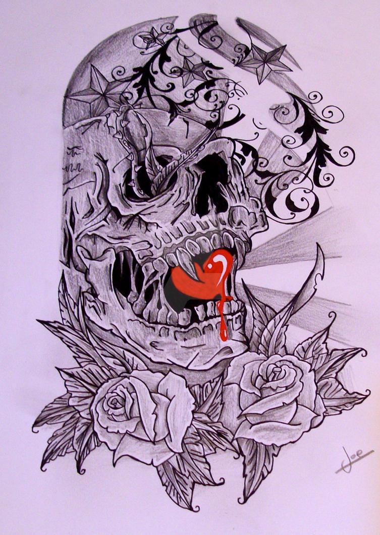 Half Sleeve Skull By Josephblacktattoos
