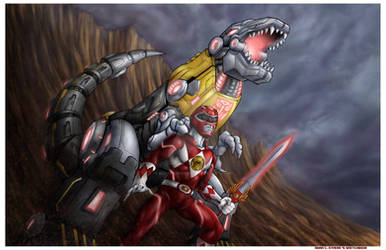 Red Ranger and Grimlock