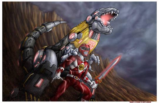 Red Ranger and Grimlock