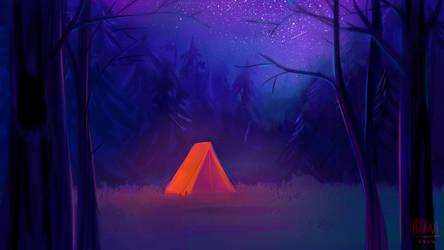 starry blue and orange tent by hyokka