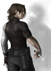 Bucky practicing knife fighting by hyokka