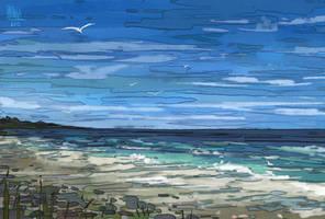 crushing waves and crying seagulls by hyokka