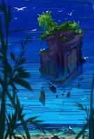 Floating rocky-island by hyokka