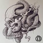 Skull full of snakes