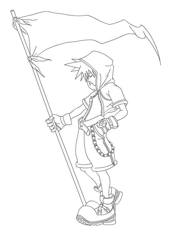 Kingdom Hearts Lineart : Sora kingdom hearts by ravesangel on deviantart