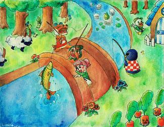 Fishing pals by MinaChawn