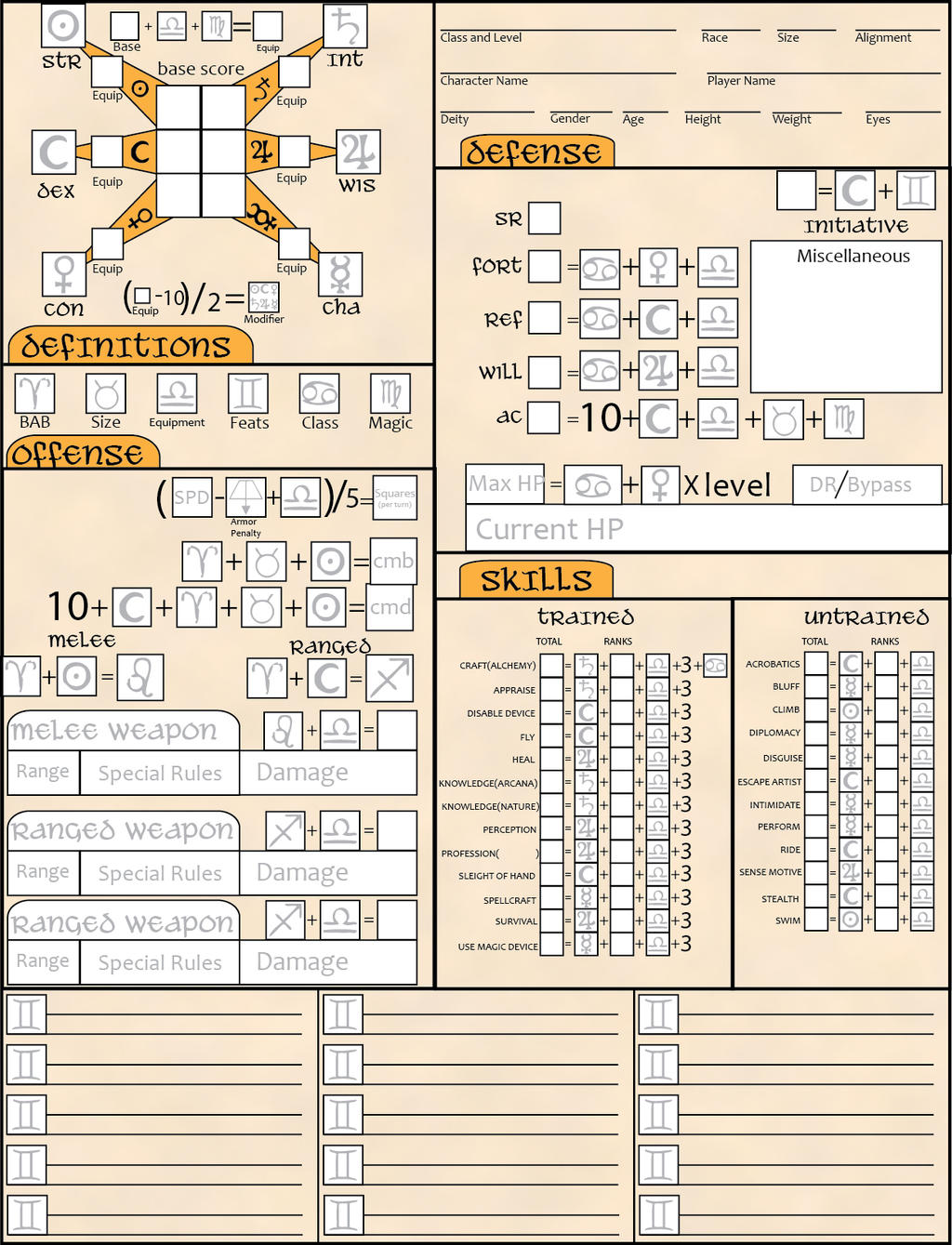 pathfinder summoner character sheet pdf
