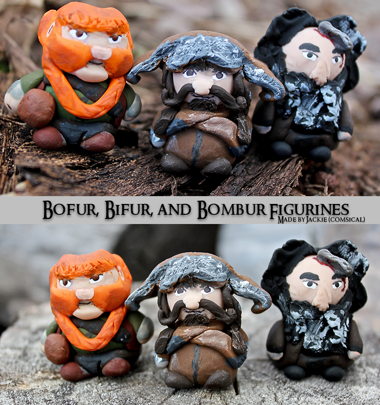 Bofur, Bifur, and Bombur Clay Figurines by Comsical