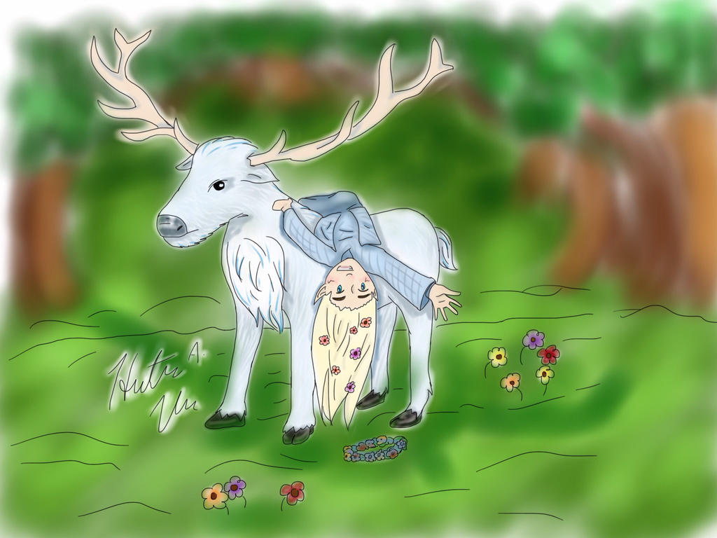 Tiny Thranduil and his elk in color by HezaHentai