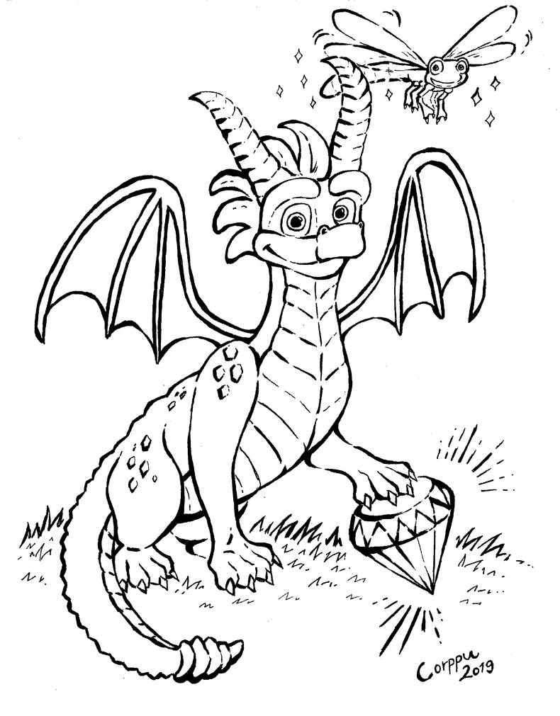 Inktober #12: Spyro and Sparx