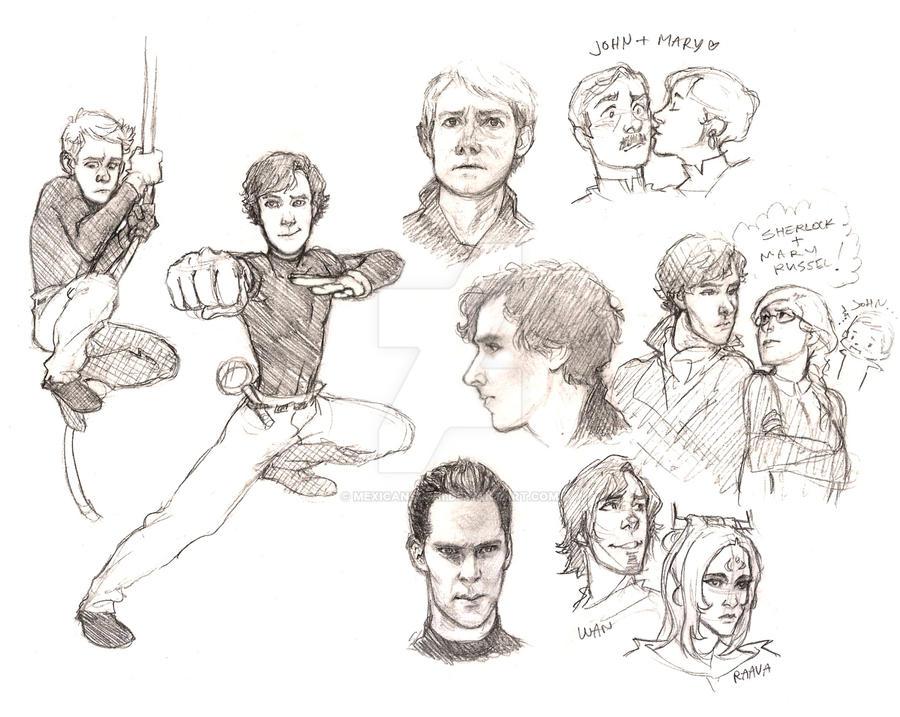 Sherlock Doodles (Nov. 1) by MexicanSushi