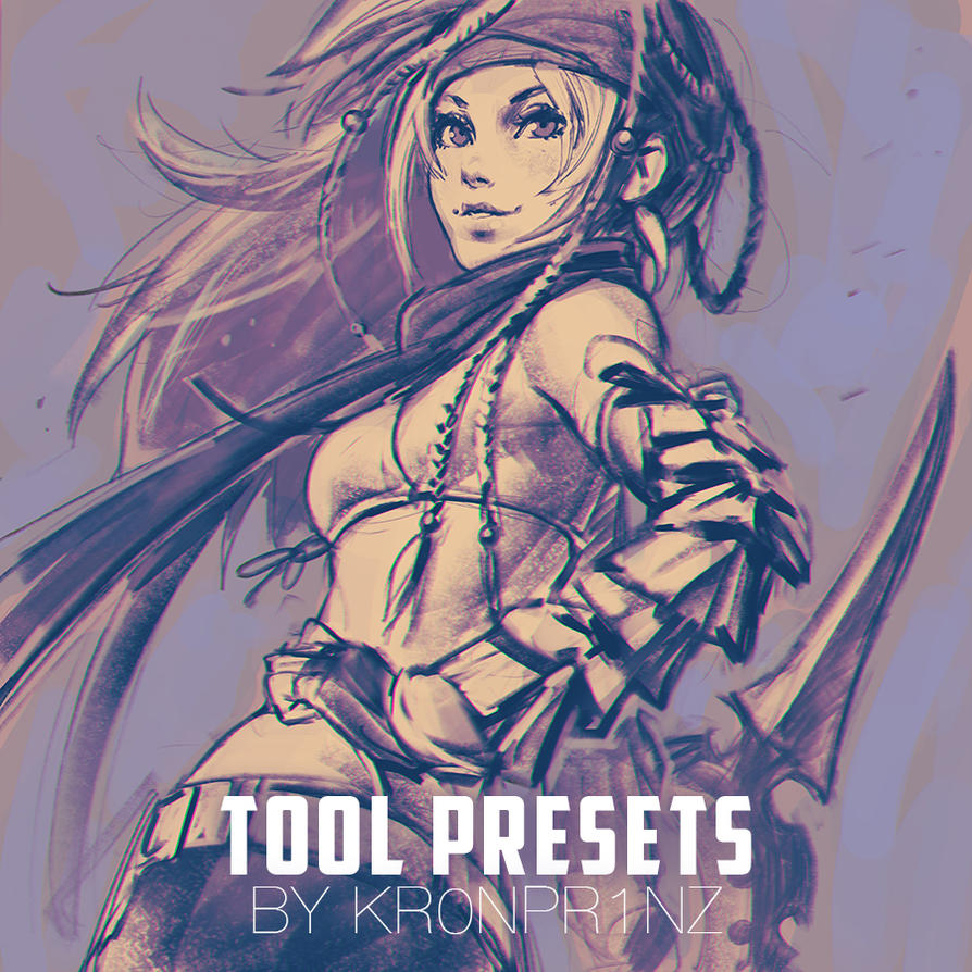 KR0NPR1NZ Tool Presets Brushes and Rikku sketch by KR0NPR1NZ