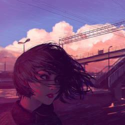 Sunset Railroad by Kuvshinov-Ilya