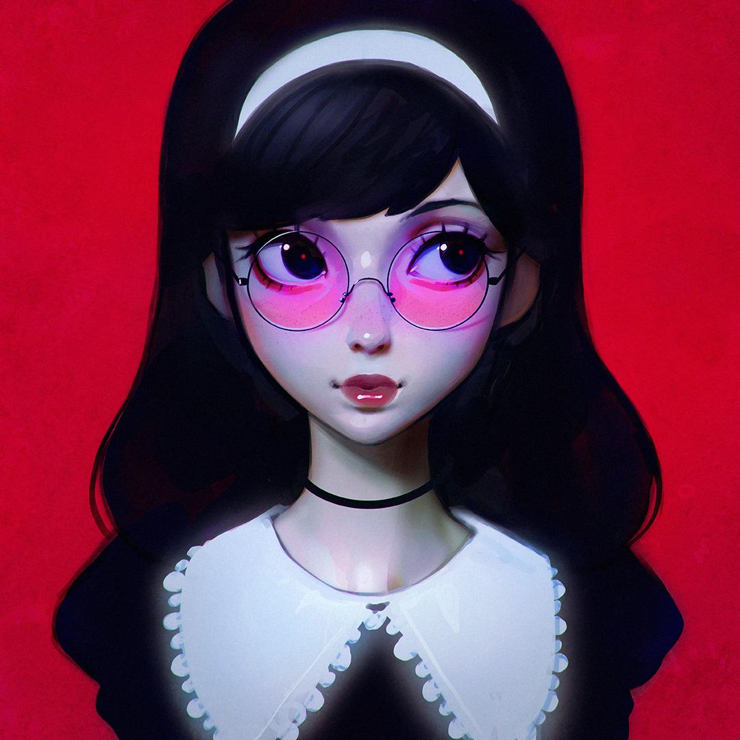 Pink glasses by kuvshinov ilya on deviantart