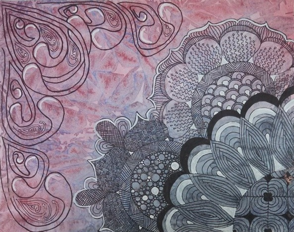 watercolour zentangle abstract 3 by creatingaj