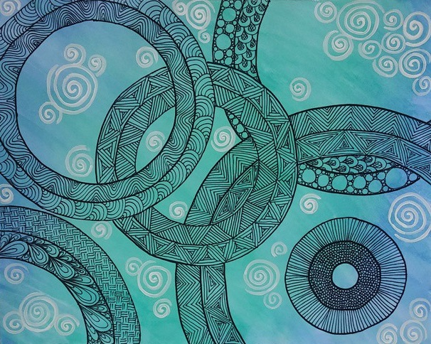 watercolour zentangle abstract 13 by creatingaj