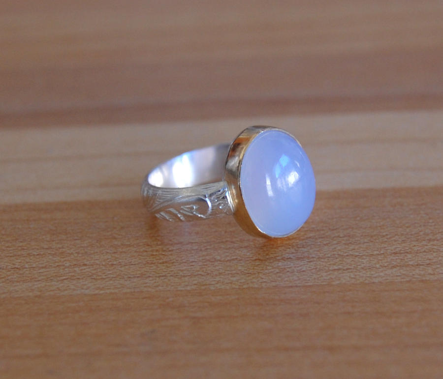 chalcedony gold i and white ring quatrefoil blue diamond yurman rings david