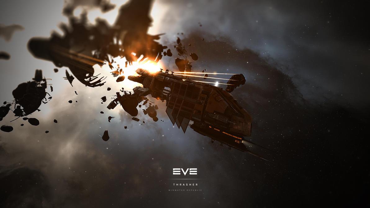 EVE Online - Minmatar Republic Thrasher Wallpaper by MVestala
