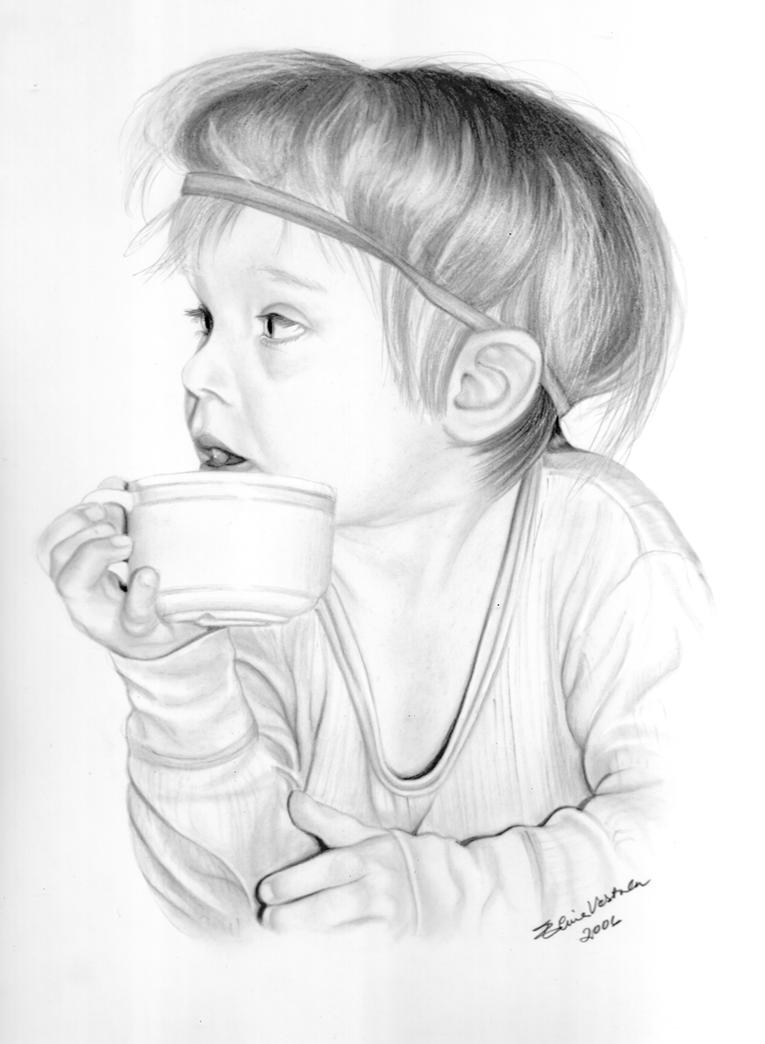 It is an image of Peaceful Girl Drinking Drawing